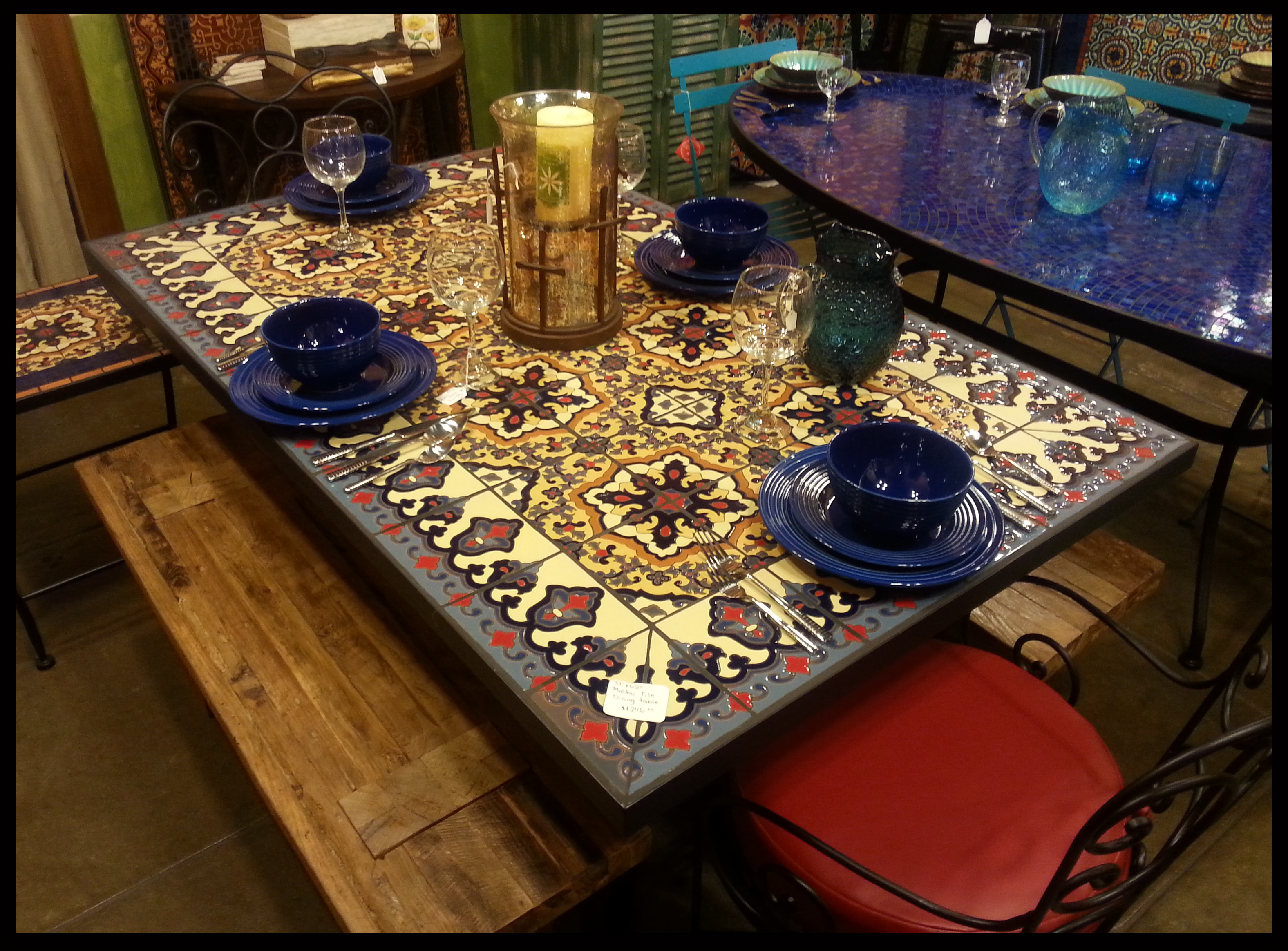 Rainbow of Color Mosaic Dining Table at 1stdibs