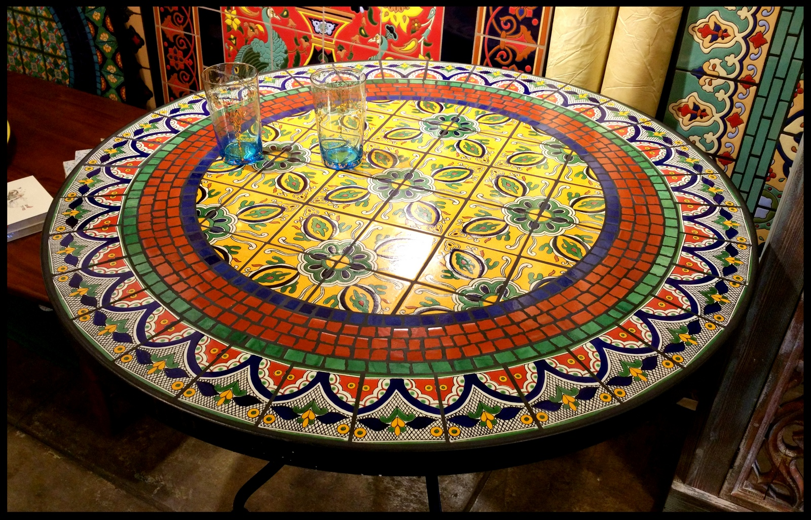 Tile and Glass Mosaic Tables : roundtalaveramosaictable from www.furthurla.com size 1600 x 1027 jpeg 945kB