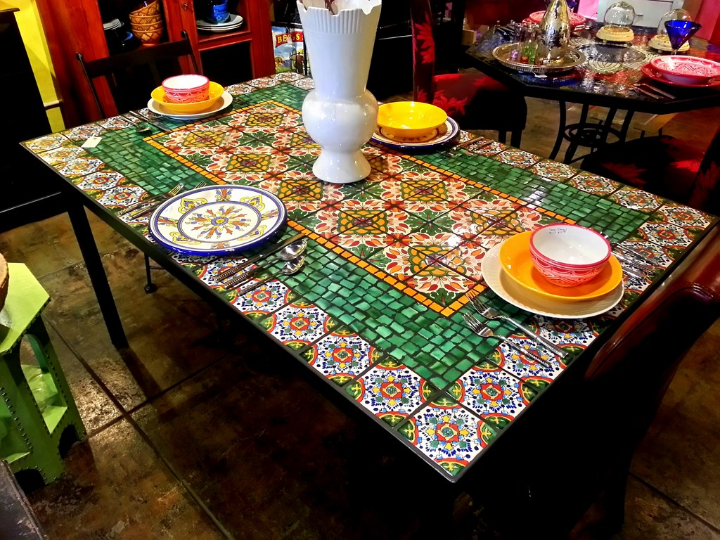 Round Table With Wood Legs And Mosaic Tile Inlaid Top, C ...